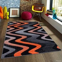 "Allstar Orange Modern Distressed Wavy Linear Design Rug - 7' 10"" X 10'"