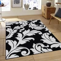 "Allstar Black White Floral Traditional Colorblock Design Rug - 7' 9"" X 10' 5"""