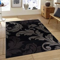 "Allstar Black Floral Traditional Fleur-De-Lis Design Rug (7' 9"" X 10' 5"")"