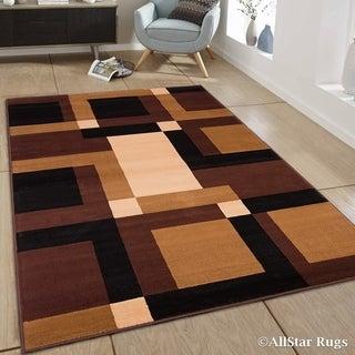 "Allstar Brown Ultra-Soft Modern Geometric Rug (7' 7"" X 10' 6"")"