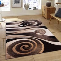 "Allstar Chocolate Woven Floral Spiral Design Distressed Rug - 7' 9"" X 10' 5"""