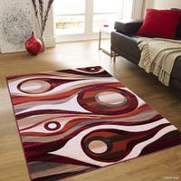 """Allstar Rust Transitional Distressed Carved Circle Design Rug - 7' 9"""" X 10' 5"""""""
