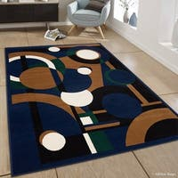 "Allstar Navy Blue/ Squares/ Circles Geometric Shapes Rug (7' 7"" X 10' 6"")"