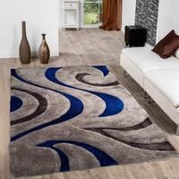"Allstar Blue Modern Soft 3D Swirl Design Rug - 7' 6"" X 10' 5"""
