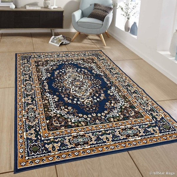 Shop Allstar Navy Blue Woven Traditional Persian Floral Design Rug