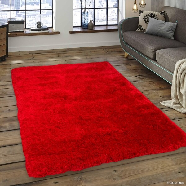 Shop Allstar Red Faux Sheep Non Shedding Soft Solid Shaggy Rug 10