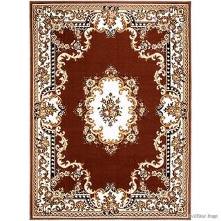 Allstar Woven Traditional Persian Floral Design Rug (Dark Brown 105 x 76)