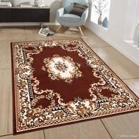 "Allstar Dark Brown Woven Persian Flower Western Rug (7' 7"" X 10' 6"")"
