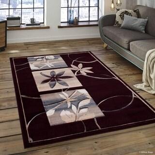 "Allstar Burgundy Distressed Floral Design Contemporary Rug (7' 9"" X 10' 5"")"