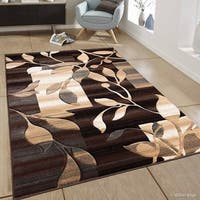 "Allstar Chocolate Transitional Block And Floral Design Rug - 7' 9"" X 10' 5"""