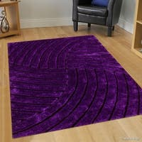 "Allstar Lilac Modern 3D Formal Thick Striped Rug - 7' 6"" X 10' 5"""