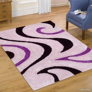 "Allstar Purple Modern Soft 3D Swirl Design Rug (7' 6"" X 10' 5"")"