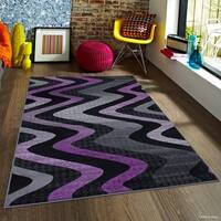 "Allstar Purple Modern Distressed Wavy Linear Design Rug - 7' 10"" X 10'"
