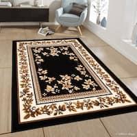 "Allstar Black Woven Traditional Persian Floral Design Rug (7' 7"" X 10' 6"")"
