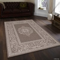 "Allstar Mocha/ Ivory Indoor Outdoor Traditional Floral Rug (7' 10"" X 10' 2"")"