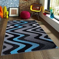 "Allstar Blue Modern Distressed Wavy Linear Design Rug - 7' 10"" X 10'"
