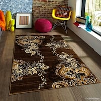 "Allstar Chocolate Exclusive Modern Floral Design Distressed Rug (7' 10"" X 10')"