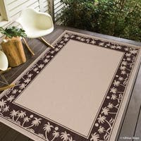 """Allstar Beige/ Ivory Indoor Outdoor With Palm Trees Rug (7' 10"""" X 10' 2"""")"""
