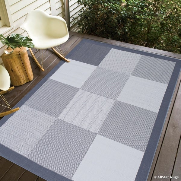 Shop Allstar Grey Ivory Indoor Outdoor With Square Design Rug 7
