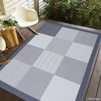 """Allstar Grey/ Ivory Indoor Outdoor With Square Design Rug (7' 10"""" X 10' 2"""")"""