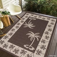 "Allstar Chocolate/ Ivory Indoor Outdoor With Palm Trees Rug (7' 10"" X 10' 2"")"