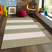 "Allstar Sage Green/ Ivory Indoor Outdoor With Pattern Rug (7' 10"" X 10' 2"")"