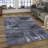 "Allstar Shadow Exclusive Modern Brush Streak Design Rug (7' 10"" X 10')"