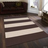 "Allstar Chocolate/ Ivory Indoor Outdoor With Pattern Rug - 7' 10"" X 10' 2"""