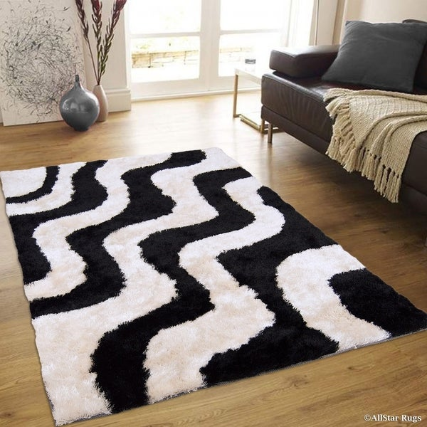 Allstar White Black Wavy Line Design Thick High Pile Rug
