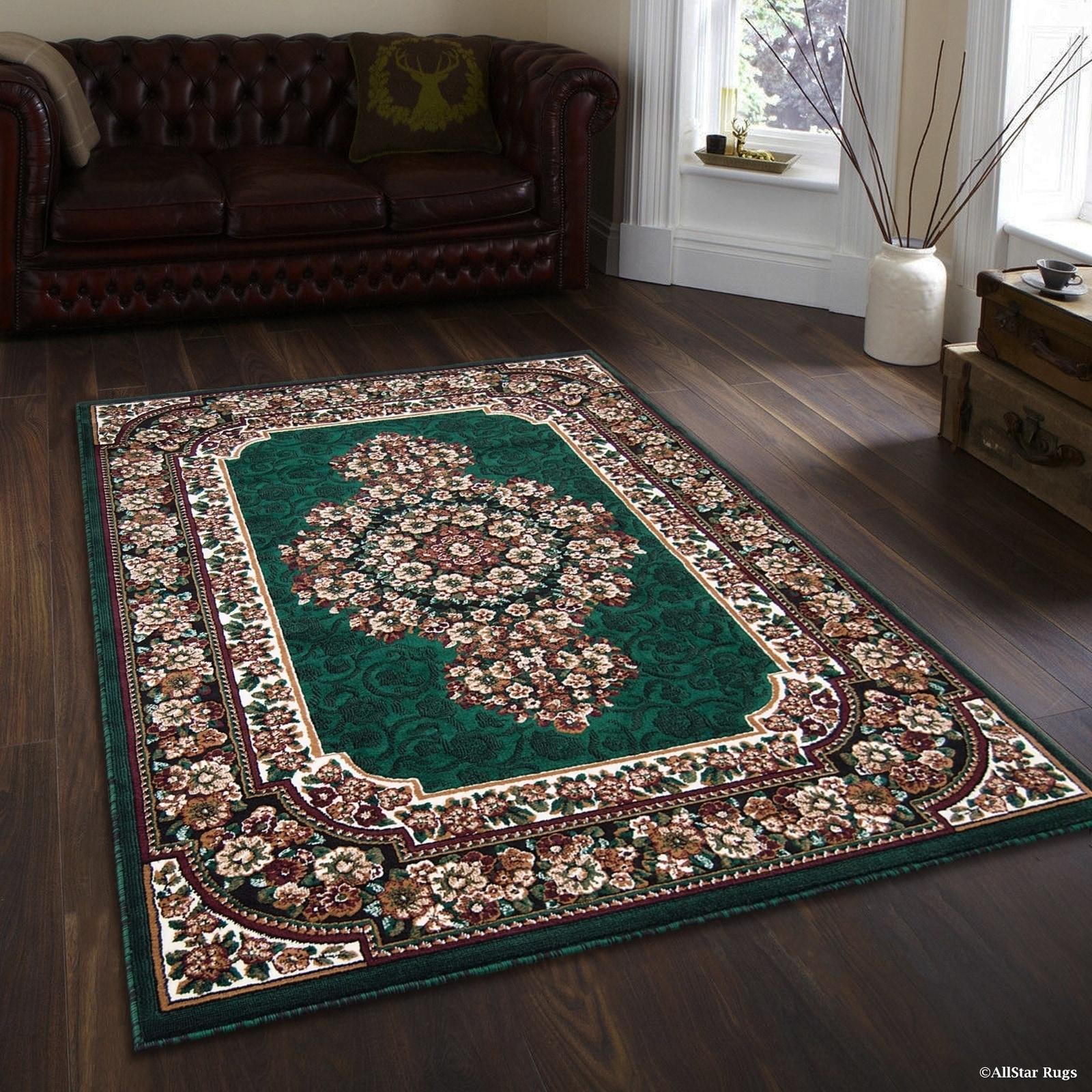 "Allstar Green/ Burgundy Woven Floral Printed Rug (7' 10"" ..."
