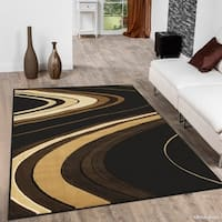 "Allstar Black/ Brown Modern And Chic Wave Design Rug - 10' 2"" x 7' 9"""