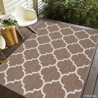 Allstar Mocha/Ivory Indoor Outdoor with Trellis Pattern Rug (7'10 x 10'2)