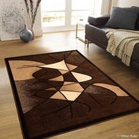 "Allstar Chocolate Distressed Modern Swirl Design Rug - 7' 10"" X 10' 2"""