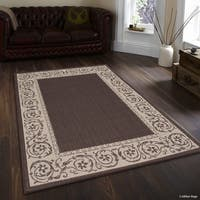 "Allstar Chocolate/ Ivory Indoor Outdoor Paisley Floral Rug (7' 10"" X 10' 2"")"