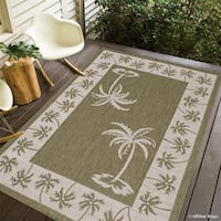 Allstar Sage Green/ Ivory Indoor Outdoor With Palm Trees Rug