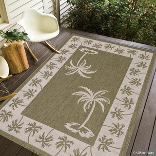 Allstar Sage Green/Ivory Palm Trees Indoor/Outdoor Rug (7'10 x 10'2)