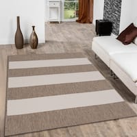 "Allstar Mocha/ Ivory Indoor Outdoor With Pattern Rug (7' 10"" X 10' 2"")"