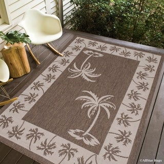 """Allstar Mocha/ Ivory Indoor Outdoor With Palm Trees Rug (7' 10"""" X 10' 2"""")"""