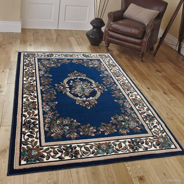 Shop Allstar Navy Blue/ Brown Woven Floral Printed Rug
