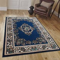 Allstar Navy Blue/ Brown Woven Floral Printed Rug