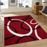 Allstar Red Woven Abstract Colorblock Modern Ring Design Rug
