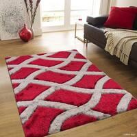 "Allstar Red/ Grey Modern Trellis Design Thick High Pile Rug (7' 11"" X 10' 5"")"