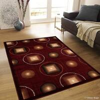 "Allstar Burgundy Modern And Chic Shape Design Rug - 7' 10"" X 10' 2"""