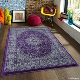 "Allstar Purple/ Grey Dense High Pile Persian Rug (6' 7"" X 9' 3"")"