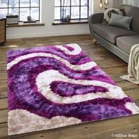 "Allstar Lilac/ Light Grey Thick High Density High Pile Rug (7' 11"" X 10' 5"")"