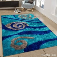 "Allstar Blue/ Grey Modern Swirl Design Thick High Pile Rug (7' 11"" X 10' 5"")"