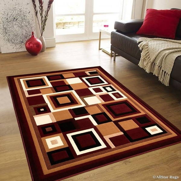 "Allstar Burgundy Abstract Shape Design Modern Rug - 7' 10"" X 10' 2"""