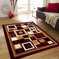 "Allstar Burgundy Abstract Shape Design Modern Rug (7' 10"" X 10' 2"")"