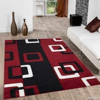 "Allstar Red Woven Geometric Block And Square Design Rug (7' 9"" X 10' 5"")"
