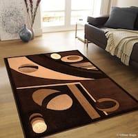 "Allstar Chocolate Modern Colorblock Design Rug - 7' 10"" X 10' 2"""